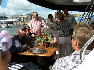 Corporate entertainment on luxury motor yachts on the South Coast